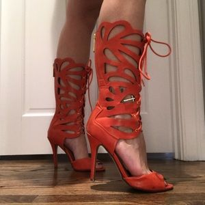 Shoes - Coral cutout heels